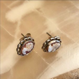 Yellow Gold Filled Cameo Stud Earrings